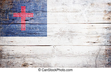 The Christian Flag painted on grungy wood plank background