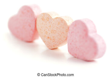 Hearts Shaped Sugar Pills - Sweet hearts shaped pink and...
