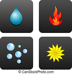 Four Elements - Drop of water, fire, air bubbles, and the...