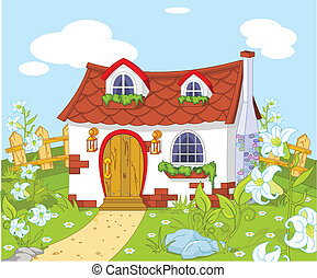 Cute little house - Cartoon landscape with Cute little house...