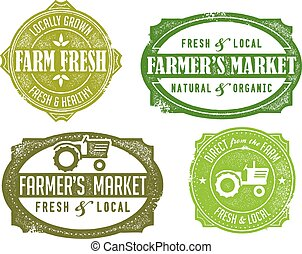 Vintage Farmers Market Signs - Vintage distressed farmers...