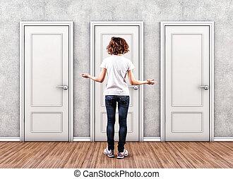 menina, antes de, portas