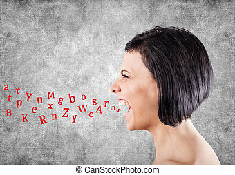 Girl shouts - Malicious girl shouts and letters fly from a...