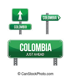 colombia Country road sign illustration design over white