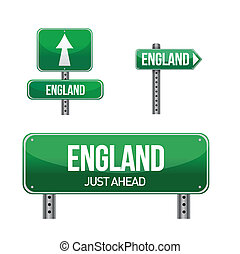 england Country road sign illustration design over white