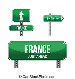 france Country road sign illustration design over white