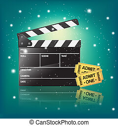 cinema illustration with clapper and tickets