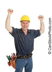 Construction Worker Ecstatic - Construction worker throwing...