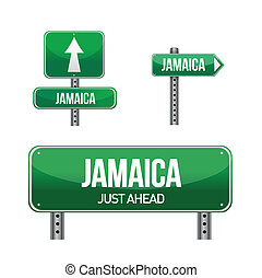 jamaica Country road sign illustration design over white