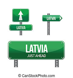 latvia Country road sign illustration design over white
