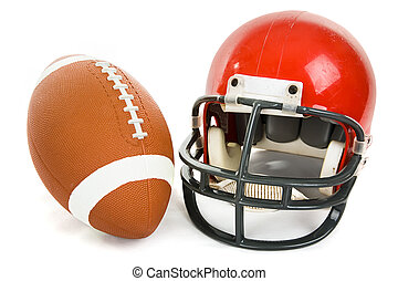 Football and Helmet Isolated - Football and helmet isolated...