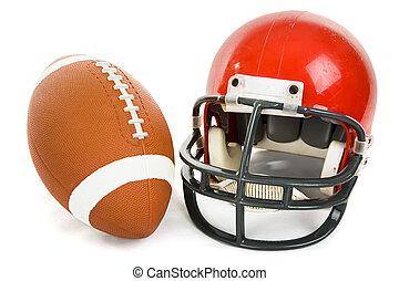 Football and Helmet Isolated