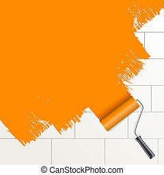 roller brush painting orange on a wall