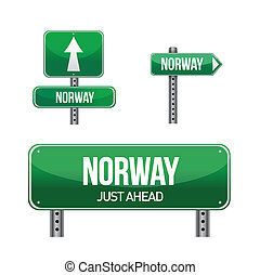 Norway Country road sign illustration design over white