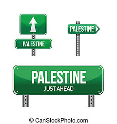 Palestine Country road sign illustration design over white