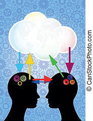 heads cloud - illustration of blank cloud with two heads