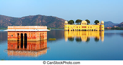 The palace Jal Mahal at night Jal Mahal Water Palace was...