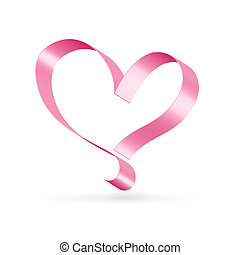 Lonely ribbon heart - Silk glossy ribbon pink heart over...