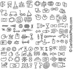 set doodle abstract icons