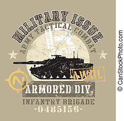 military issue - crack illustration for shirt printed and...