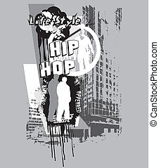 hiphop - illustration for shirt printed and poster