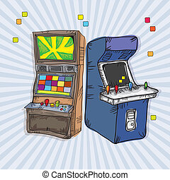 Video Games Icons - Illustrated Arcade Game Machines set for...