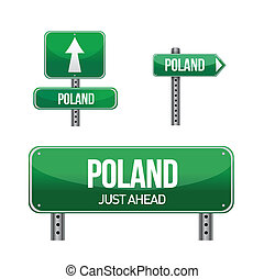 poland Country road sign illustration design over white