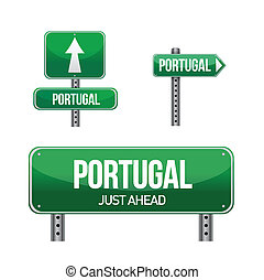 portugal Country road sign illustration design over white