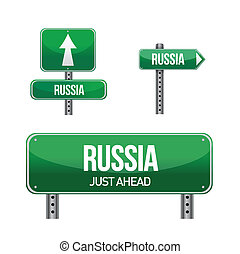 russia Country road sign illustration design over white