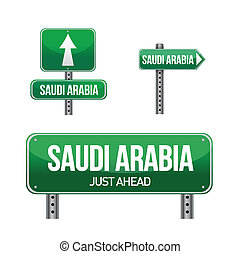saudi arabia Country road sign illustration design over...