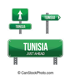 tunisia Country road sign illustration design over white