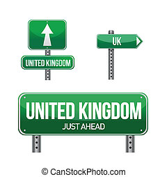 united kingdom Country road sign illustration design over...