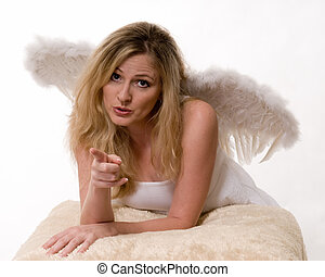 Beautiful angel pointing - Attractive blond woman wearing...