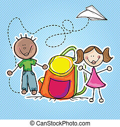 Kids Group - Illustration of kids icons, kids groups, vector...