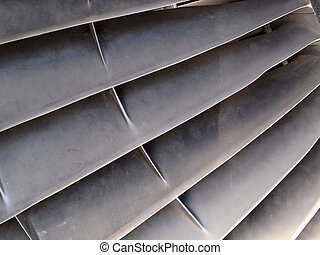blades of a jet engine - Close-up of blades of a jet engine.