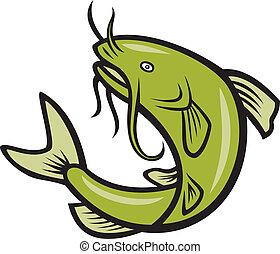 harcsa, Fish, ugrás, Karikatúra