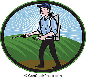 Fertilizer Sprayer Pump Spraying Cartoon - Illustration of a...