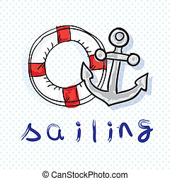 Summer, Sun Icons (Sailing elements), Vector Illustration