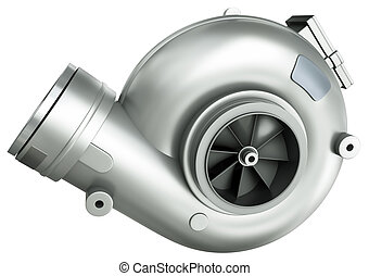 Turbocharger - Automotive turbocharger, isolated on a white...