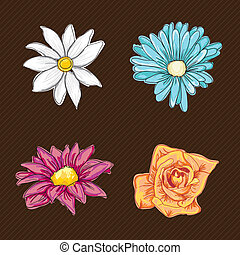 Flowers Icons - Colorful Flowers Icons Set on vintage...