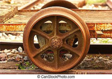 The old railway wheels - The railway axle steel wheels...