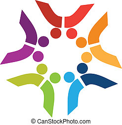 People team logo - Circle of social people logo in nice...