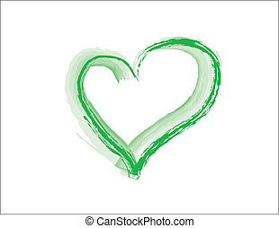 Green Grunge Heart - simple design of a green heart in a...