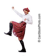 escocés, tradiciones, concepto, persona, Llevando,...