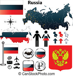 Russia map - Vector of Russia set with detailed country...