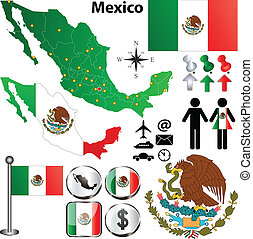 Mexico map with regions - Vector of Mexico map with regions...