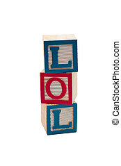 LOL blocks - Wooden blocks that spell out LOL. Isolated on...