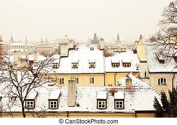 Panorama of Prague with its landmarks