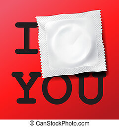 Condom with text I love you, vector Eps10 illustration