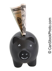 money pig with dollar banknote